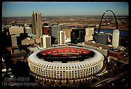Aerial view on late autumn afternoon of Busch Stadium, Arch and downtown St. Louis skyline. Missouri
