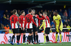 January 20, 2019 - Vila-Real, Castellon, Spain - Athletic Club de Bilbao players claims to Undiano Mallenco during the La Liga Santander match between Villarreal and Athletic Club de Bilbao at La Ceramica Stadium on Jenuary 20, 2019 in Vila-real, Spain. (Credit Image: © AFP7 via ZUMA Wire)