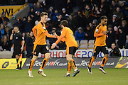 Wolverhampton Wanderers midfielder Jack Price congratulates Wolverhampton Wanderers striker Joe Mason on his goal during the Sky Bet Championship match between Wolverhampton Wanderers and Preston North End at Molineux, Wolverhampton, England on 13 February 2016. Photo by Alan Franklin.