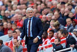 LIVERPOOL, ENGLAND - Saturday, September 22, 2018: Southampton's manager Mark Hughes during the FA Premier League match between Liverpool FC and Southampton FC at Anfield. (Pic by Jon Super/Propaganda)