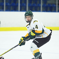 1st year defence man Mackenzie Hutchinson (4) of the Regina Cougars in action during the Women's Hockey home game on October 14 at Co-operators arena. Credit: Arthur Ward/Arthur Images
