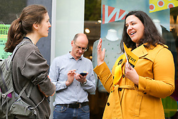 © Licensed to London News Pictures. 18/05/2019. London, UK. Liberal Democrats MEP candidate Helen Cross speaks with a women during campaigning in Islington, north London for the forthcoming European Parliament election. Photo credit: Dinendra Haria/LNP