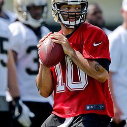 Jul 26, 2013; Metairie, LA, USA; New Orleans Saints quarterback Seneca Wallace (10) during the first day of training camp at the team facility. Mandatory Credit: Derick E. Hingle-USA TODAY Sports
