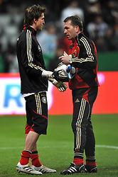 03.03.2010, Allianz Arena Muenchen, Muenchen, GER,  Laenderspiel Deutschland ( GER ) - Argentinien ( ARG ) 0 - 1. Im Bild Rene Adler ( GER / Leverkusen #01 ) und Andreas Koepke (Germany / Trainer / Keeper - Coach ) vor dem Spiel. EXPA Pictures © 2010, PhotoCredit: EXPA/ nph/  Kurth / for Slovenia SPORTIDA PHOTO AGENCY.
