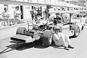 Bruce McLaren takes a moment prior to a practice session at the 1969 Edmonton Can-Am.