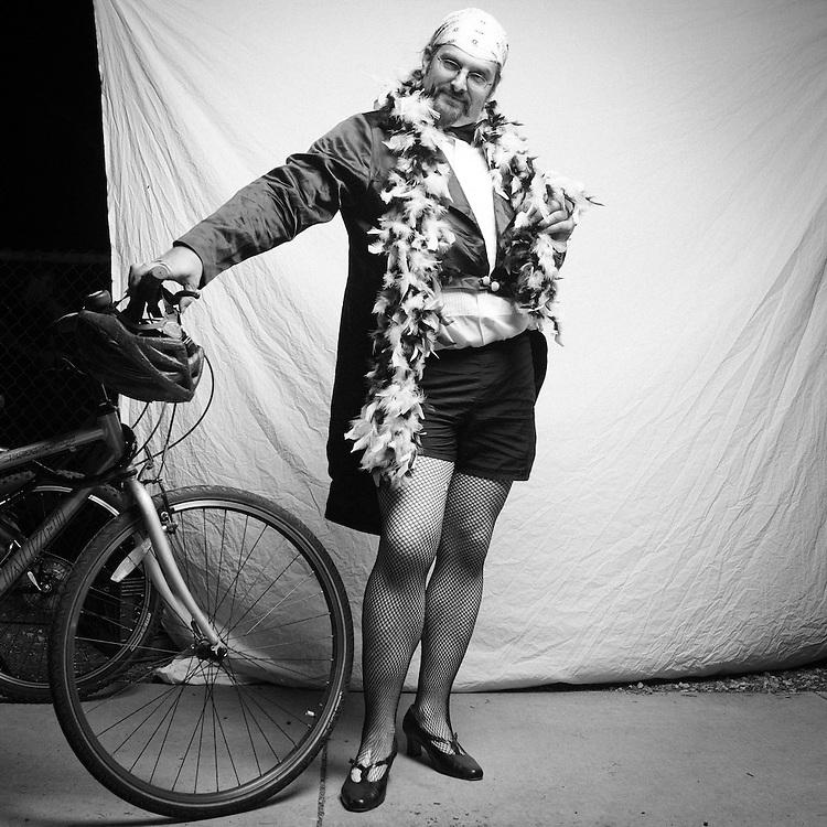 San Jose Bike Party, The Rocky Horror Ride. Bike Party Photo Studio. Photo by Scott MacDonald, scottmacdonaldphotography.com