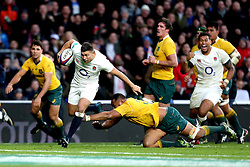 Ben Youngs of England goes past the tackle from Sekope Kepu of Australia - Mandatory by-line: Robbie Stephenson/JMP - 03/12/2016 - RUGBY - Twickenham - London, England - England v Australia - Old Mutual Wealth Series