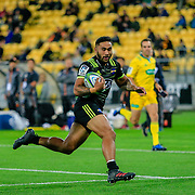 Vince Aso  running during the Super Rugby union game between Hurricanes and Sunwolves, played at Westpac Stadium, Wellington, New Zealand on 27 April 2018.   Hurricanes won 43-15.