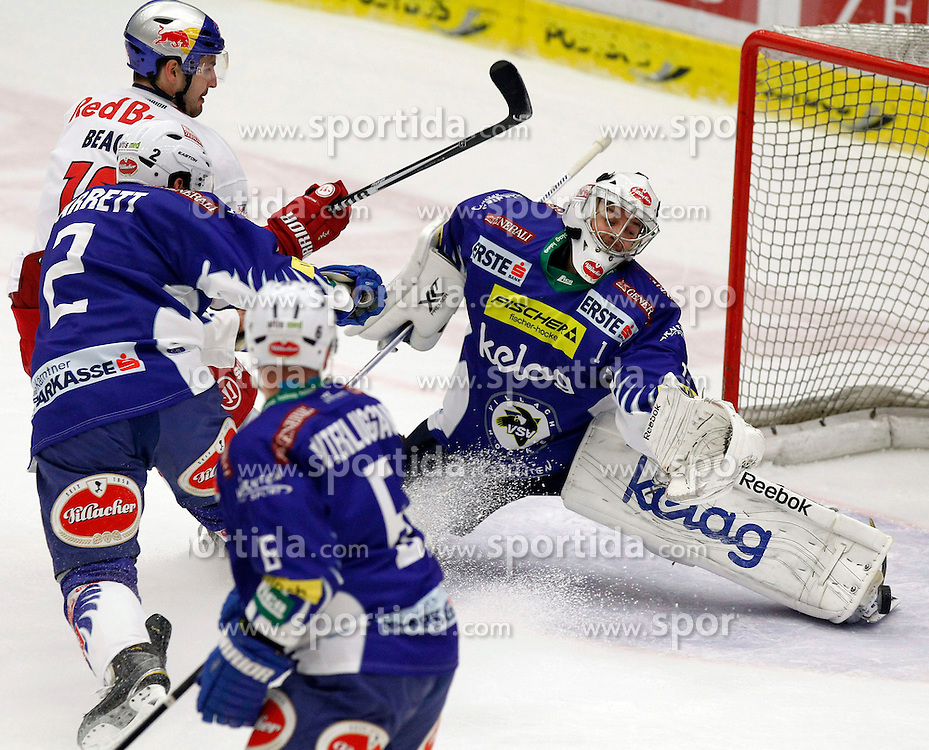 21.11. 2014, Stadthalle, Villach, AUT, EBEL, EC VSV vs EC Red Bull Salzburg, 19. Runde, im Bild v.l. Kyle Beach (EC RBS), Cole Jarrett (VSV) uns Jean Philippe Lamoureux (VSV) // during the Erste Bank Icehockey League 19th round match between EC VSV vs EC Red Bull Salzburg at the City Hall in Villach, Austria on 2014/11/21, EXPA Pictures © 2014, PhotoCredit: EXPA/ Oskar Hoeher