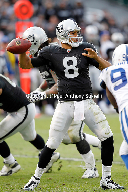 Oakland Raiders quarterback Jason Campbell (8) throws a pass during the NFL week 16 football game against the Indianapolis Colts on Sunday, December 26, 2010 in Oakland, California. The Colts won the game 31-26. (©Paul Anthony Spinelli)