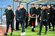 England players come out to inspect the pitch ahead of the UEFA European 2020 Qualifier match between Bulgaria and England at Stadion Vasil Levski, Sofia, Bulgaria on 14 October 2019.