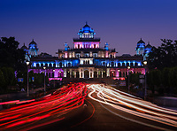 JAIPUR, INDIA - CIRCA NOVEMBER 2018: The Albert Hall Museum at night. It is the oldest museum of the state and functions as the state museum of Rajasthan. The building is situated in Ram Niwas garden outside the city. It is also called the Government Central Museum. Jaipur is the capital and the largest city of the Indian state of Rajasthan. Jaipur is also known as the Pink City, due to the dominant color scheme of its buildings and a popular tourist destination.