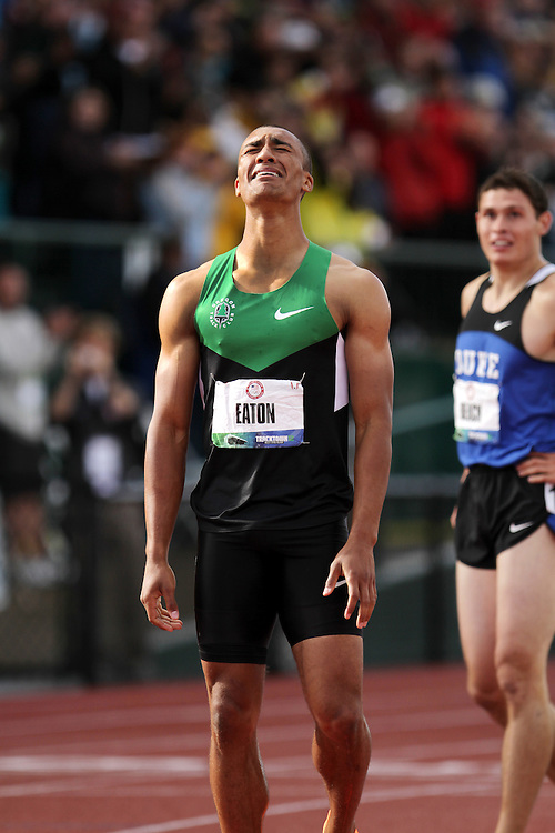 Olympic Trials Eugene 2012: Decathlon, 1500 meters, Ashton Eaton, reacts to setting world record, Olympian