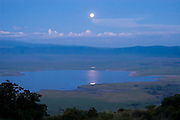 Moonrise over Ngrongoro Crater, Ngorongoro Conservation Area, Tanzania.