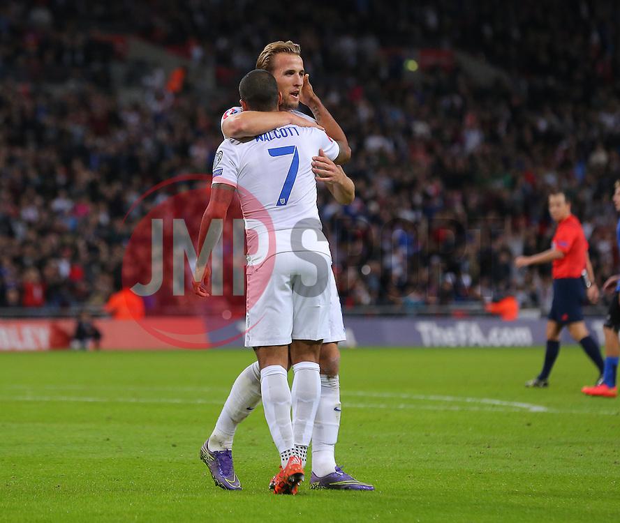 Theo Walcott ( L ) of England celebrates with Harry Kane after he scores the opening goal - Mandatory byline: Paul Terry/JMP - 07966 386802 - 09/10/2015 - FOOTBALL - Wembley Stadium - London, England - England v Estonia - European Championship Qualifying - Group E