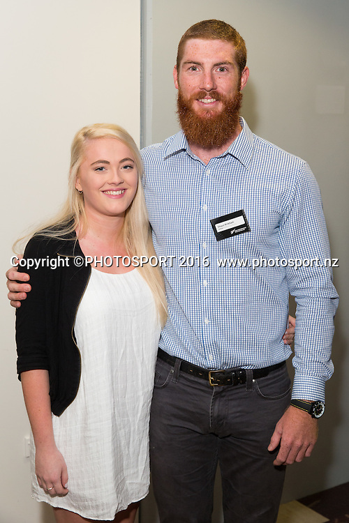 Tash Biggar and Shaun Kirkham at the High Performance Sport NZ Waikato ceremony for the Prime Minister's Scholarship Awards, at Sir Don Rowlands Centre, Lake Karapiro, Cambridge, New Zealand, 20 April 2016. Copyright Photo: Stephen Barker / www.photosport.nz