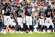 CHICAGO, IL - OCTOBER 22:  Pernell McPhee #92, Jonathan Bullard #90 and Leonard Floyd #94 of the Chicago Bears at the line of scrimmage during a game against the Carolina Panthers at Soldier Field on October 22, 2017 in Chicago, Illinois.  The Bears defeated the Panthers 17-3.  (Photo by Wesley Hitt/Getty Images) *** Local Caption *** Pernall McPhee; Jonathan Bullard; Leonard Floyd