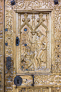 Door detail of Cathedral de Santa Maria de Leon in Leon, Castilla y Leon, Spain