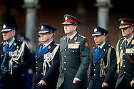 THE HAGUE - KIng Willem-Alexander presented at the Binnenhof a new standard from the Royal Military Police. The current standard is after 40 years of replacement. COPYRIGHT ROBIN UTRECHT