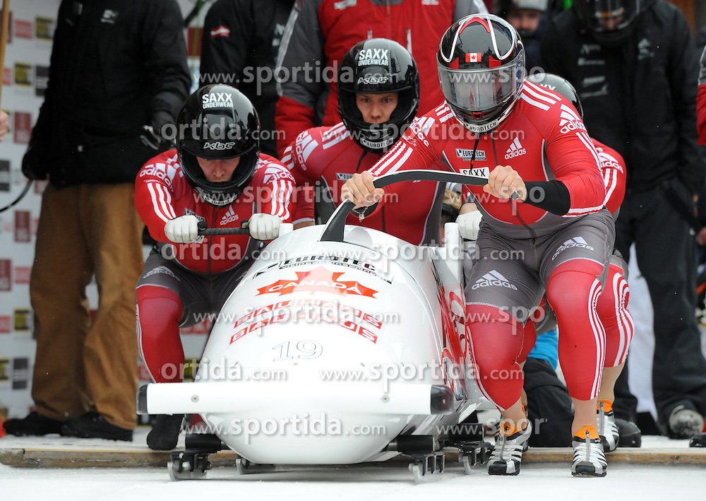 02.02.2013, Olympia Bobbahn, St. Moritz, SUI, IBSF, Weltmeisterschaften, im Bild Pilot Chris Spring (CAN), Jean-Nicolas Carriere, Cody Sorensen und Samuel Giguere // during the IBSF World Championships at the Olympia Bob Run, St. Moritz, Switzerland on 20130202. EXPA Pictures © 2013, PhotoCredit: EXPA/ Freshfocus/ Raphael Nadler..***** ATTENTION - for AUT, SLO, CRO, SRB, BIH only *****