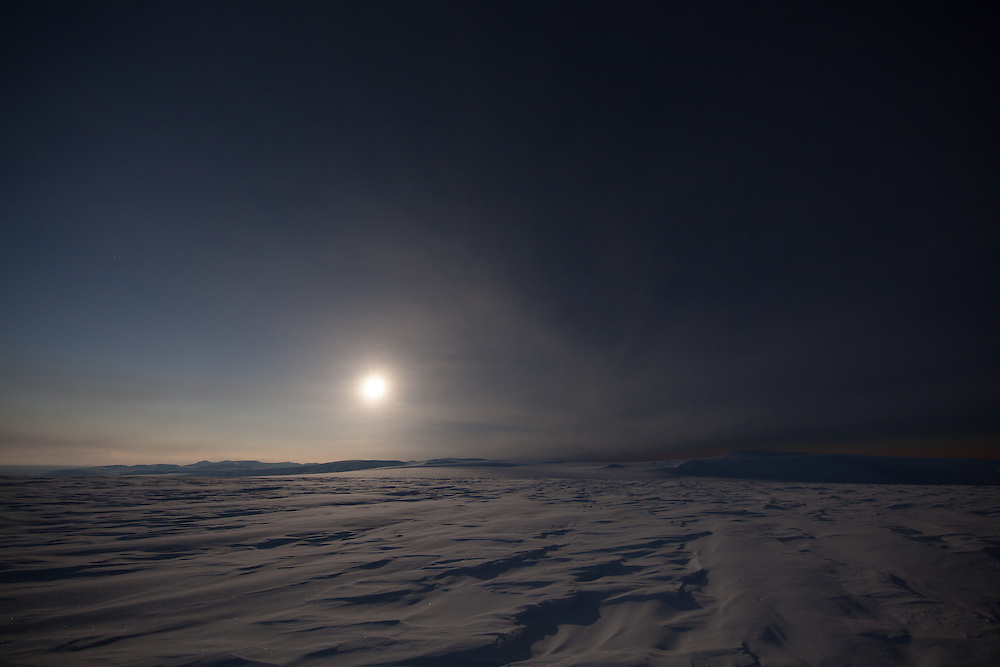 Glacier landscape in the final 20 seconds before totality in the 20 March 2015 total solar eclipse over Svalbard, Norway
