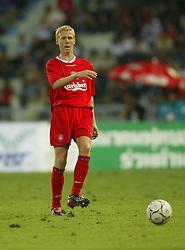 BANGKOK, THAILAND - Thailand. Thursday, July 24, 2003: Liverpool's Zac Whitbread makes his debut against Thailand during a preseason friendly match at the Rajamangala National Stadium. (Pic by David Rawcliffe/Propaganda)
