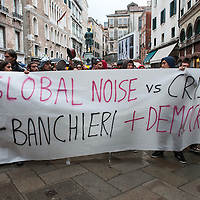 Students clash with Police in Venice during a day of protest against a money prize of ?15,000 given by Ca Foscari University to leader of BCE Mario Draghi.while cuts to grants and reduction in personnel have been announced by the same University