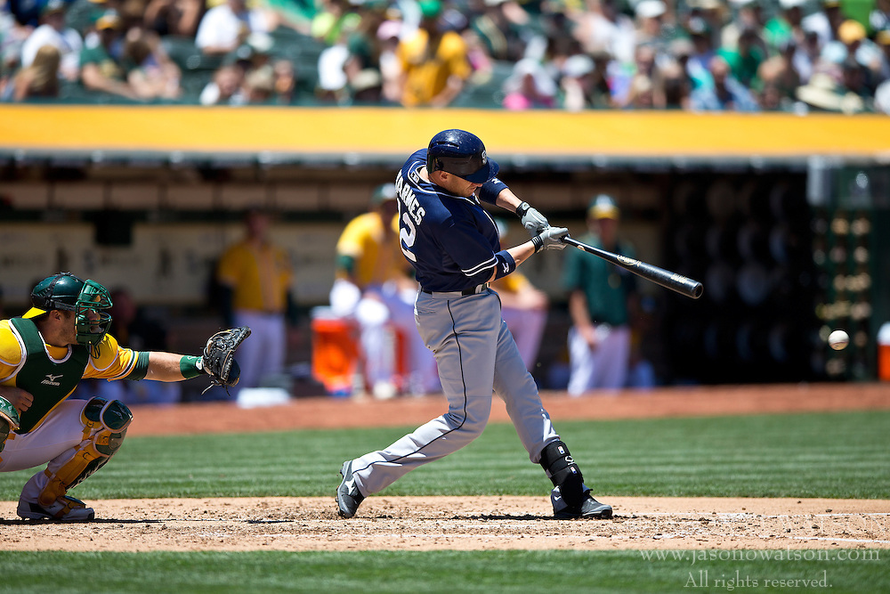 OAKLAND, CA - JUNE 18:  Clint Barmes #12 of the San Diego Padres at bat against the Oakland Athletics during the fourth inning at O.co Coliseum on June 18, 2015 in Oakland, California. The San Diego Padres defeated the Oakland Athletics 3-1. (Photo by Jason O. Watson/Getty Images) *** Local Caption *** Clint Barmes
