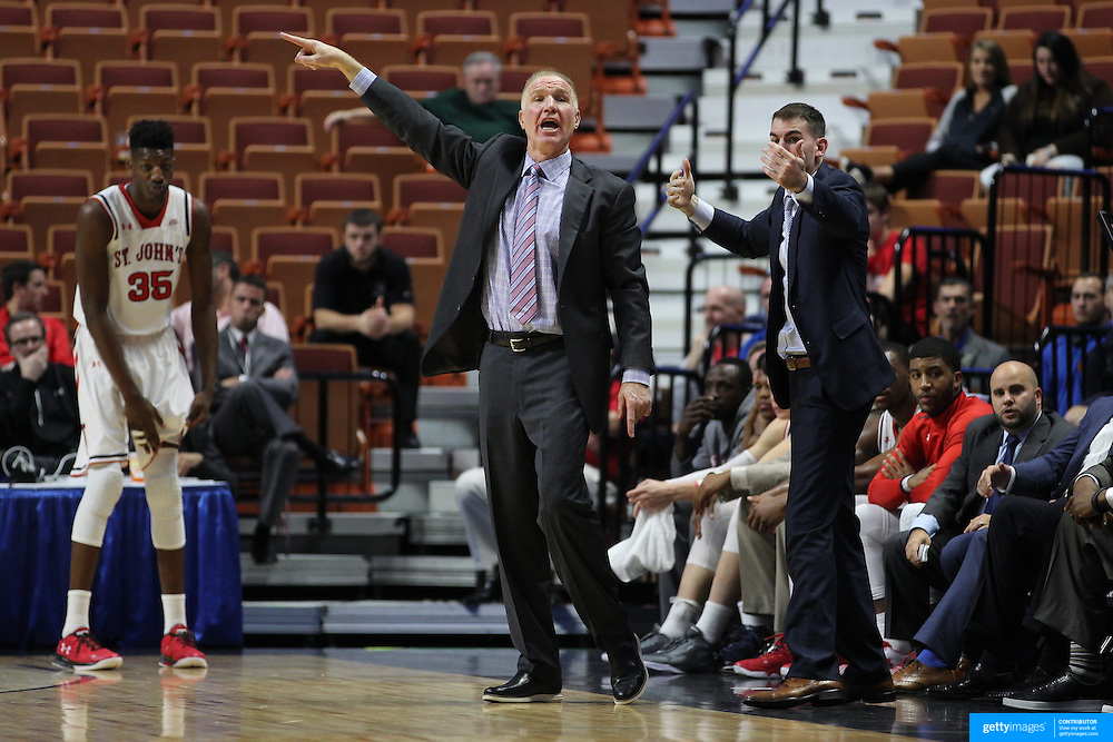 St. John's Head Coach Chris Mullin on the sideline during the St. John's vs South Carolina Men's College Basketball game in the Hall of Fame Shootout Tournament at Mohegan Sun Arena, Uncasville, Connecticut, USA. 22nd December 2015. Photo Tim Clayton