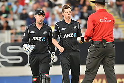 March 4, 2017 - Auckland, New Zealand - Luke Ronchi (L) and Mitchell Santner (R) of New Zealand during the final match of  One Day International series between New Zealand and South Africa at Eden Park on March 4, 2017 in Auckland, New Zealand (Credit Image: © Shirley Kwok/Pacific Press via ZUMA Wire)