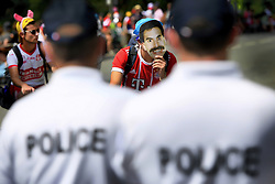 July 22, 2018 - Mende, FRANCE - Illustration picture shows a cycling fan with a Borat mask and policemen at the 15th stage in the 105th edition of the Tour de France cycling race, from Millau to Carcassone (181,5km), France, Sunday 22 July 2018. This year's Tour de France takes place from July 7th to July 29th. BELGA PHOTO YORICK JANSENS (Credit Image: © Yorick Jansens/Belga via ZUMA Press)