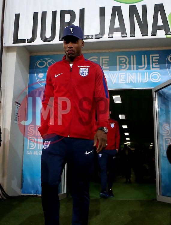 Daniel Sturridge of England arrives at The SRC Stozice Stadium ahead of the World Cup Qualifier against Slovenia - Mandatory by-line: Robbie Stephenson/JMP - 10/10/2016 - FOOTBALL - SRC Stozice - Ljubljana, England - England Press Conference