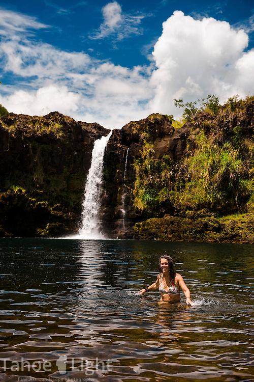 Swimming in Wai'ale Falls on the big island of Hawaii near Hilo.