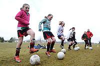 Girls training at  Creggmore Football Club. Photo:Andrew Downes.