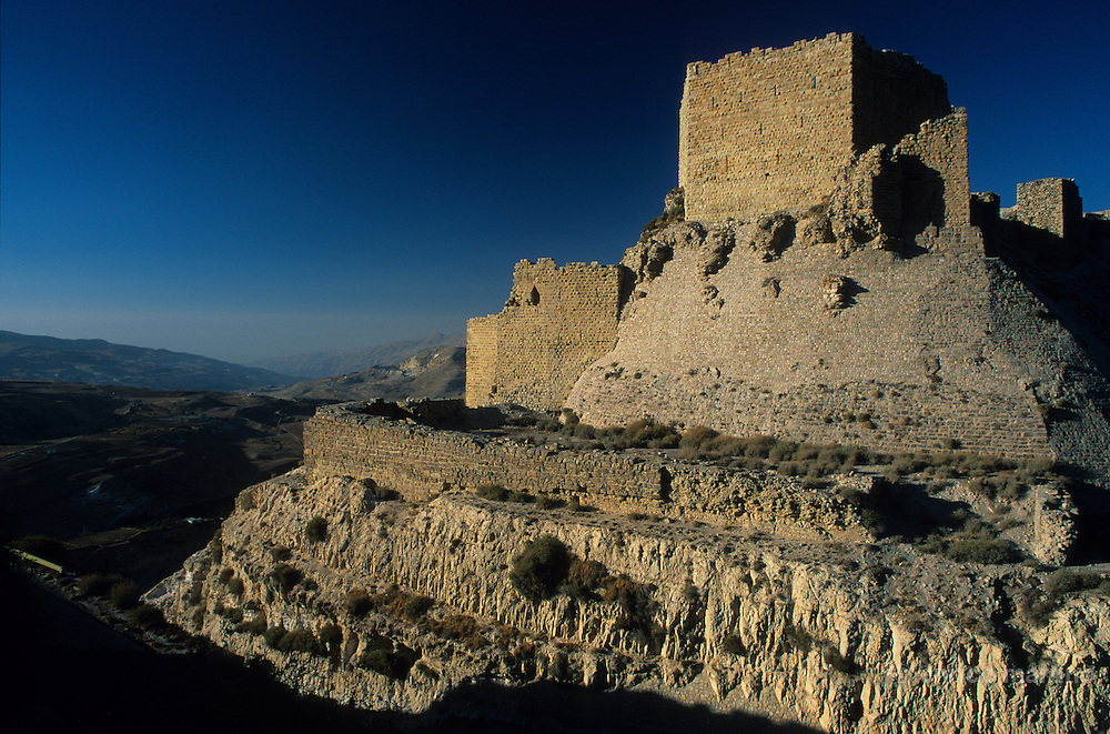 """Kerak, the famous crusader castle. The construction began in the 1140s and the  Crusaders called it Crac des Moabites or """"Kerak in Moab"""". Because of its position east of the Jordan River, Kerak was able to control the trade routes from Damascus to Egypt and Mecca. In 1176 Raynald of Chatillon gained possession of Kerak harassing the trade caravans. In 1183 Saladin besieged the castle in response to Raynald's attacks. and after the Battle of Hattin in 1187, Saladin  finally captured it in 1189."""