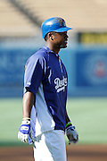 LOS ANGELES, CA - AUGUST 07:  Hanley Ramirez #13 of the Los Angeles Dodgers leads off second base during batting practice before the game against the Colorado Rockies on Tuesday, August 7, 2012 at Dodger Stadium in Los Angeles, California. The Rockies won the game 3-1. (Photo by Paul Spinelli/MLB Photos via Getty Images) *** Local Caption *** Hanley Ramirez