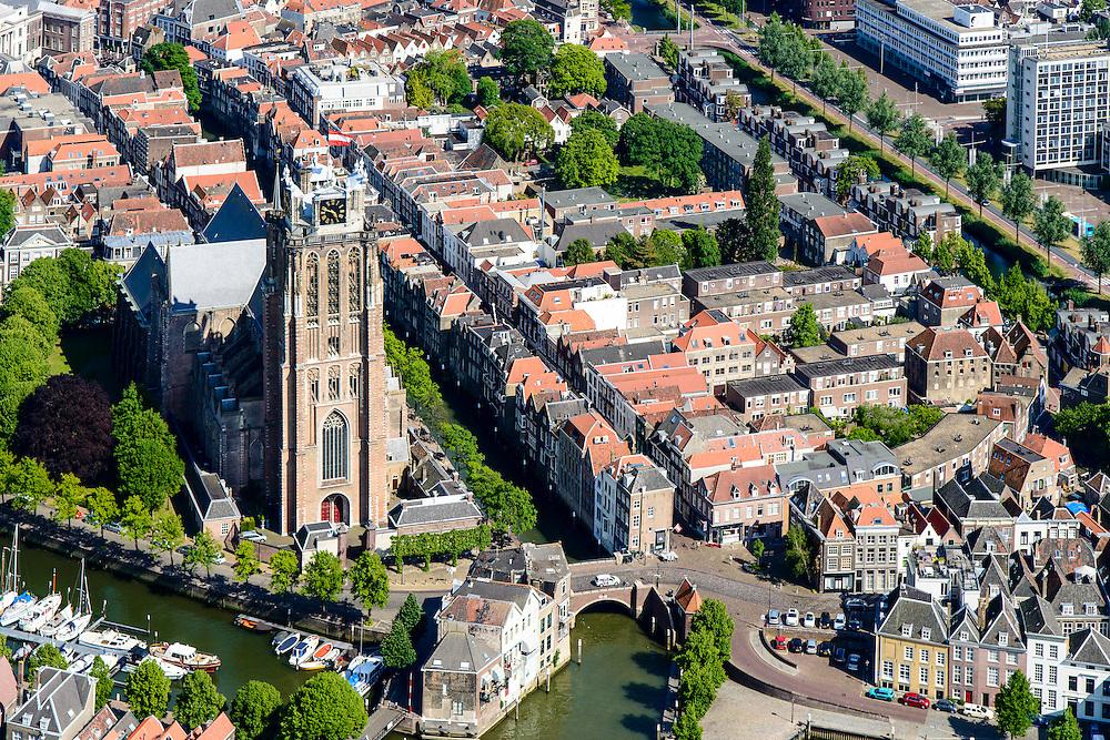 Nederland, Zuid-Holland,  Dordrecht, 10-06-2015; Gezicht op Dordrecht, binnenstad met Kalkhaven, Nieuwe Haven  en Grote Kerk. Rivier de Beneden Mewede aan de horizon.<br /> View of Dordrecht with rivers and  city harbours, inner city.<br /> luchtfoto (toeslag op standard tarieven);<br /> aerial photo (additional fee required);<br /> copyright foto/photo Siebe Swart
