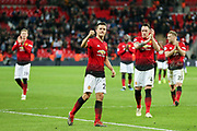 Manchester United Midfielder Ander Herrera celebrates in front of the Manchester United fans during the Premier League match between Tottenham Hotspur and Manchester United at Wembley Stadium, London, England on 13 January 2019.