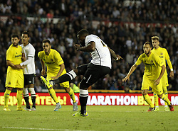 Derby County's Darren Bent takes a penalty but misses - Mandatory by-line: Robbie Stephenson/JMP - 07966386802 - 29/07/2015 - SPORT - FOOTBALL - Derby,England - iPro Stadium - Derby County v Villarreal CF - Pre-Season Friendly