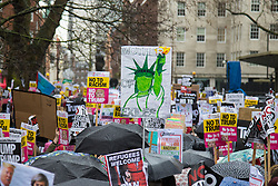London, February 4th 2017. Protesters in London demonstrate again against Donald Trump's Muslim travel ban and his proposed State Visit to the UK. Organised by anti-racism organisation Hope Not Hate, the march from the US embassy in Grosvenor Square to Downing Street follows the demonstration on Monday 30th January outside Downing Street where a crowd estimated to be 30,000 protested against the same ban.