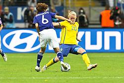 13.07.2011, Commerzbank Arena, Frankfurt, GER, FIFA Women Worldcup 2011, Halbfinale,  Japan (JPN) vs. Schweden (SWE), im Bild.Zweikampf zwischen Mizuho Skaguchi (Japan) (L) gegen Marie Hammarstrom (Schweden) (R).. // during the FIFA Women´s Worldcup 2011, Semifinal, Japan vs Sweden on 2011/07/13, Commerzbank Arena, Frankfurt, Germany.   EXPA Pictures © 2011, PhotoCredit: EXPA/ nph/  Mueller       ****** out of GER / CRO  / BEL ******
