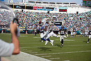 Indianapolis Colts wide receiver T.Y. Hilton (13) tries to catch a third quarter pass broken up by Jacksonville Jaguars cornerback Jalen Ramsey (20) during the NFL week 13 regular season football game against the Jacksonville Jaguars on Sunday, Dec. 2, 2018 in Jacksonville, Fla. The Jaguars won the game in a 6-0 shutout. (©Paul Anthony Spinelli)