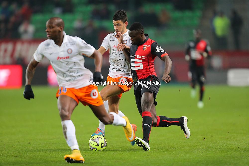 Paul Georges NTEP / Morgan SANSON - 06.12.2014 - Rennes / Montpellier - 17eme journee de Ligue 1 -<br />Photo : Vincent Michel / Icon Sport