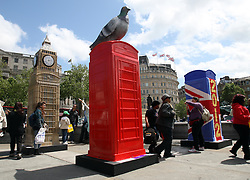 Iconic red K6 telephone boxes transformed into a variety of designs on display in Trafalgar Square in London, Friday, 15th June 2012. The ArtBox project was launched by British Telecom to mark 25 years of the charity ChildLine. Photo by: Stephen Lock / i-Images