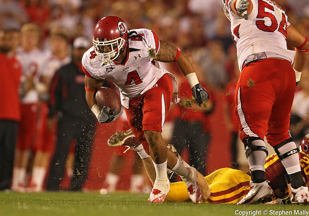 October 9 2010: Utah Utes running back Matt Asiata (4) runs after a catch during the first half of the NCAA football game between the Utah Utes and the Iowa State Cyclones at Jack Trice Stadium in Ames, Iowa on Saturday October 9, 2010. Utah defeated Iowa State 68-27.