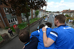 A Bristol City fan looks on during the Bristol Rovers bus tour - Photo mandatory by-line: Dougie Allward/JMP - Mobile: 07966 386802 - 25/05/2015 - SPORT - Football - Bristol - Bristol Rovers Bus Tour