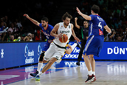 13.09.2014, City Arena, Madrid, ESP, FIBA WM, Frankreich und Litauen, Entscheidungsspiel zwischen Platz 3 und 4, im Bild France´s Diot and Heurtel and Lithuania´s Lavrinovic // during FIBA Basketball World Cup Spain 2014 playoff match place 3 and 4 between France and Lithuania at the City Arena in Madrid, Spain on 2014/09/13. EXPA Pictures © 2014, PhotoCredit: EXPA/ Alterphotos/ Victor Blanco<br /> <br /> *****ATTENTION - OUT of ESP, SUI*****