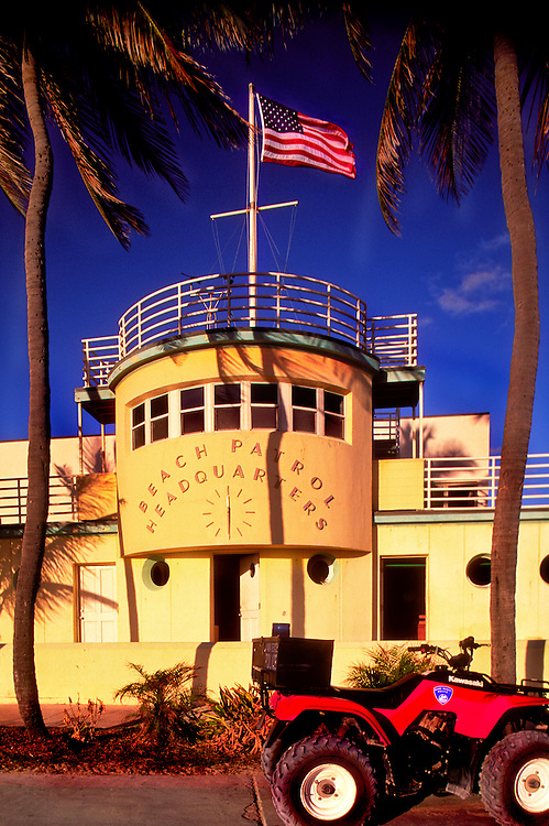 The Art Deco-style Beach Patrol headquarters in Miami Beach's historic South Beach. Designed by architect Robert A. Taylor in 1934, this extraordinary  building resembles the bridge of an ocean liner with metal railings and porthole windows -- a seaside resort look called Nautical Moderne.