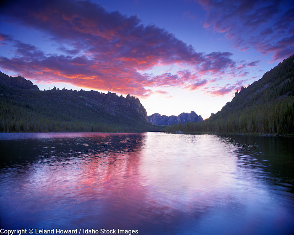 sunset over Ship Island Lake in Frank Church Wilderness area