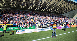Falkirk's Lee Miller. Players and fans at the end of the game. Kilmarnock 4 v 0 Falkirk, second leg of the Scottish Premiership play-off final.